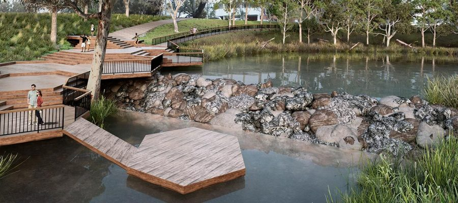 Stormwater harvesting, water engineering, landscape architecture, shepparton, 3D renders